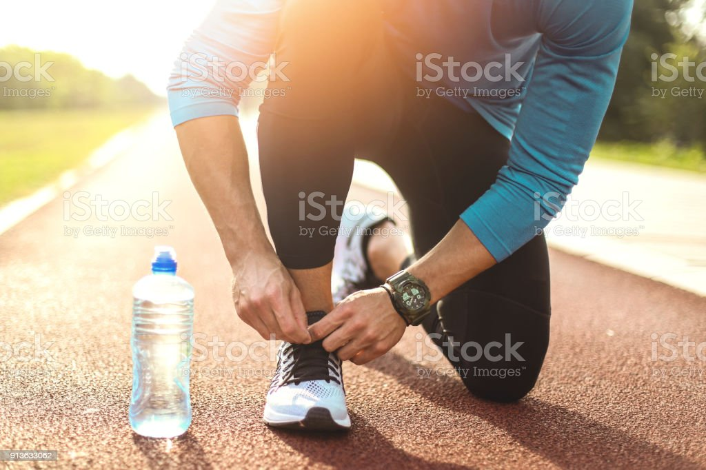 Getting ready for running stock photo