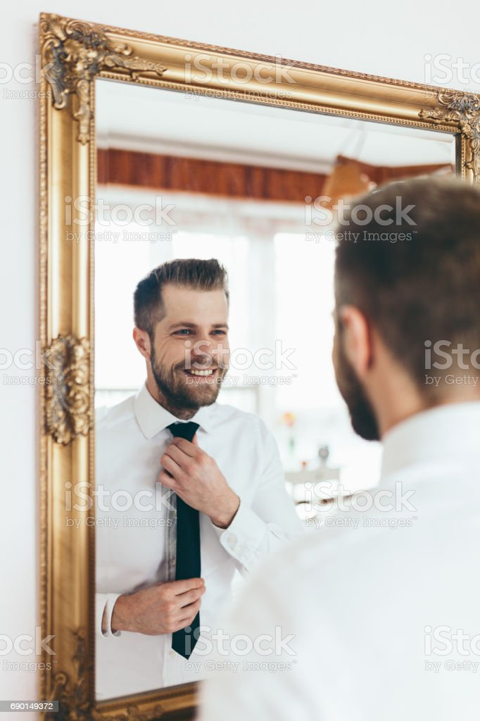 Getting ready for the big occasion. stock photo
