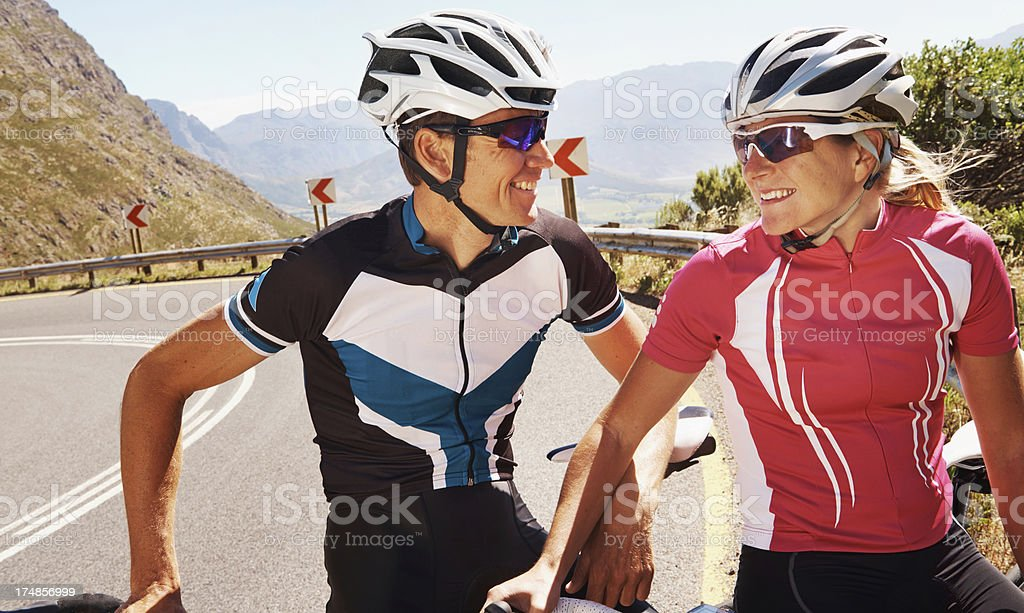 Getting ready for the final push uphill royalty-free stock photo