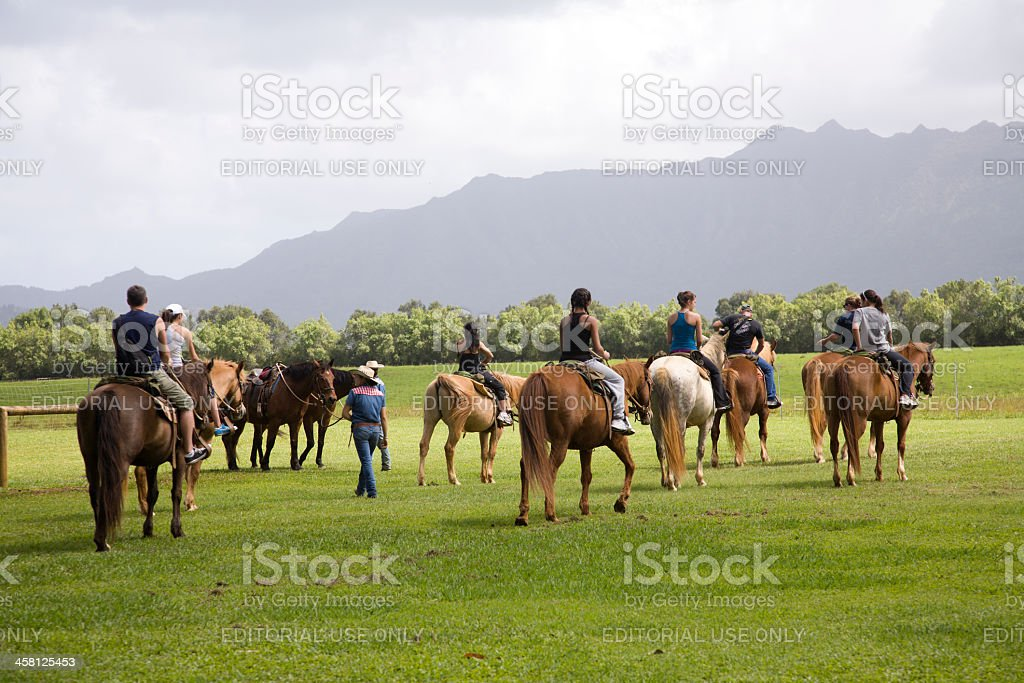 Getting Ready for The Trail Ride In Kauai stock photo