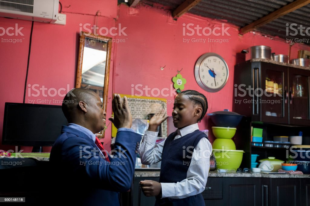 Getting ready for work and school stock photo
