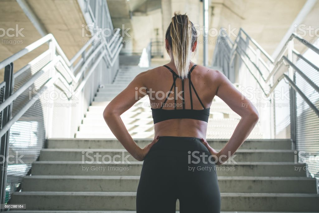 Getting ready for workout stock photo