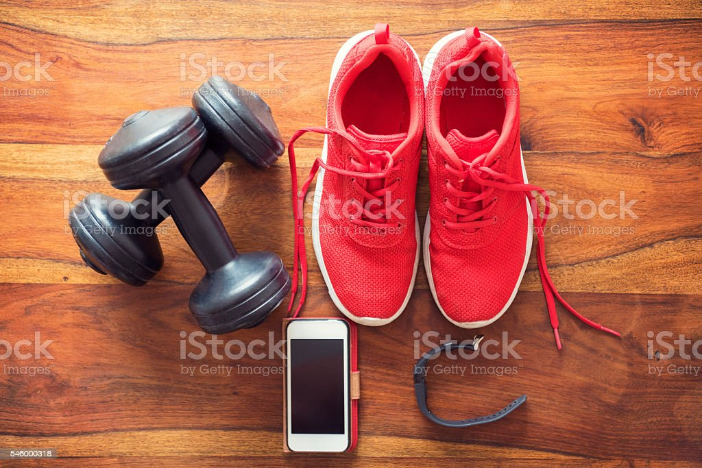 Getting ready for your daily workout - sports equipment stock photo
