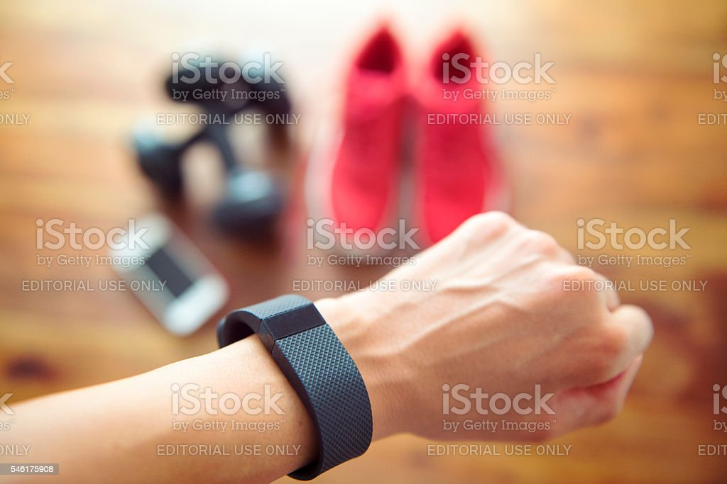 Getting ready for your daily workout with an activiy tracker stock photo