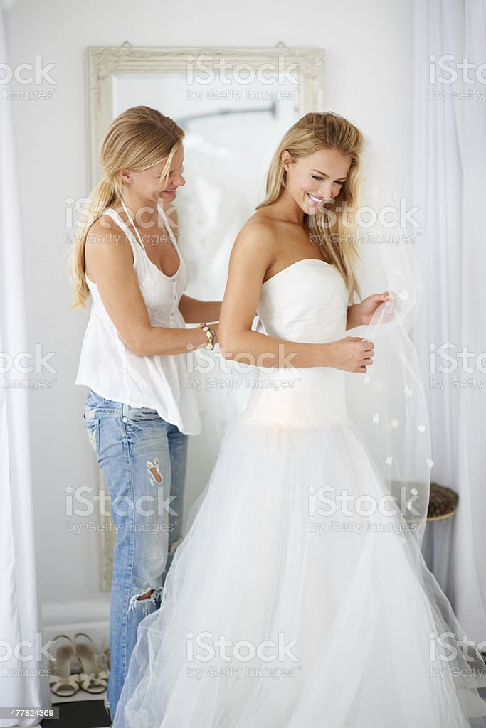 Getting ready with a smile stock photo