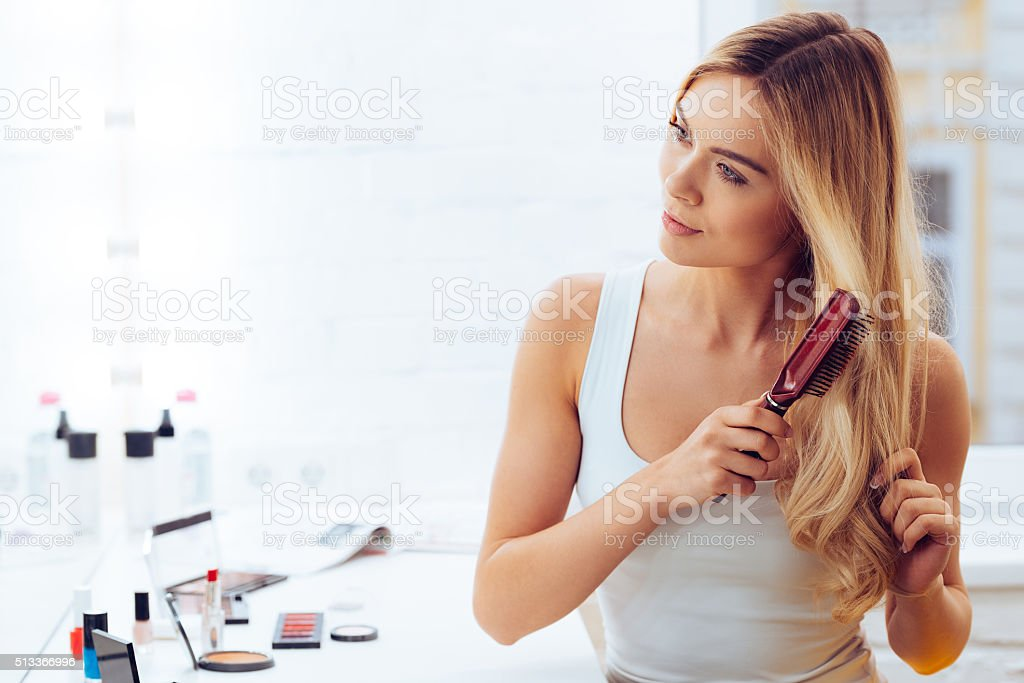 Getting rid of tangles. stock photo