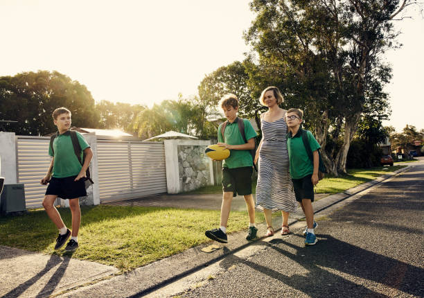 Getting some exercise after school stock photo