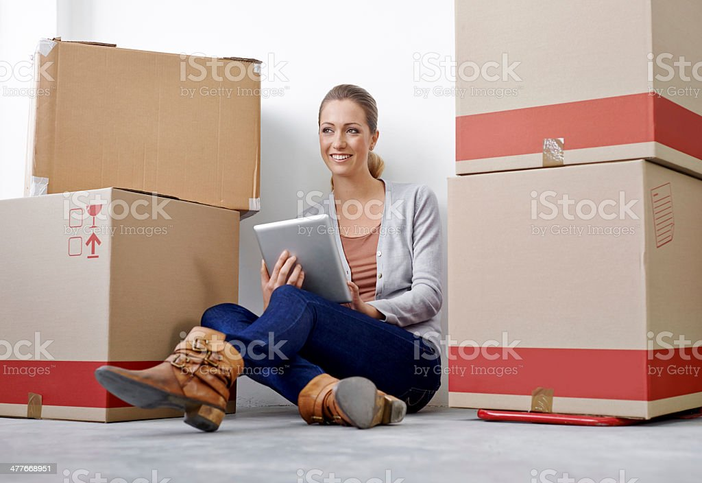 Getting some tasks done before the unpacking starts royalty-free stock photo