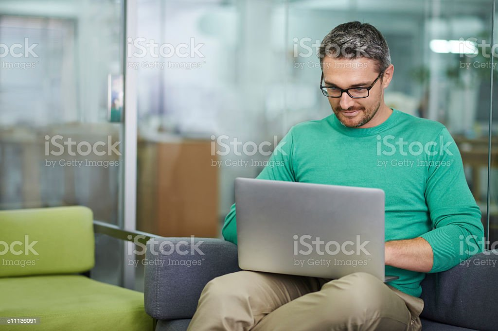 Getting some work done stock photo