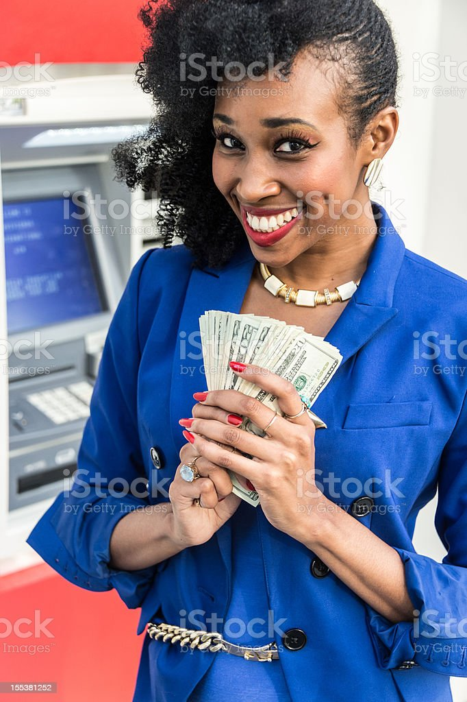 Getting the cash stock photo