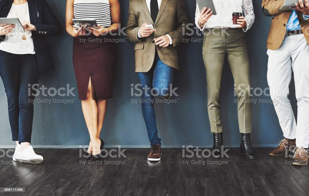 Getting their feet into the door of business stock photo