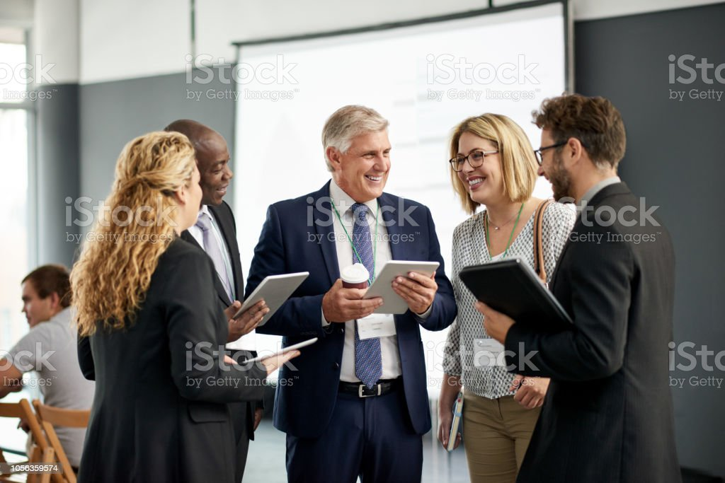 Getting to know their business network stock photo
