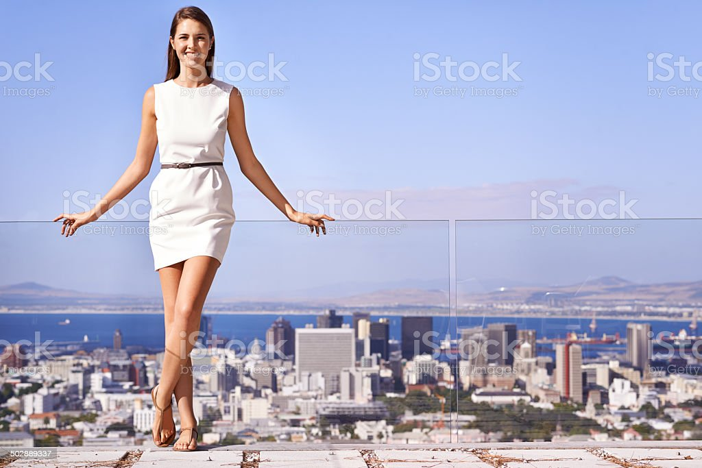 Getting to the top stock photo