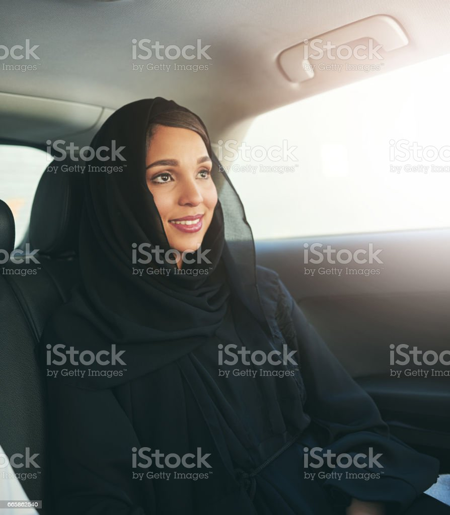 Getting to where she's going in comfort and style stock photo