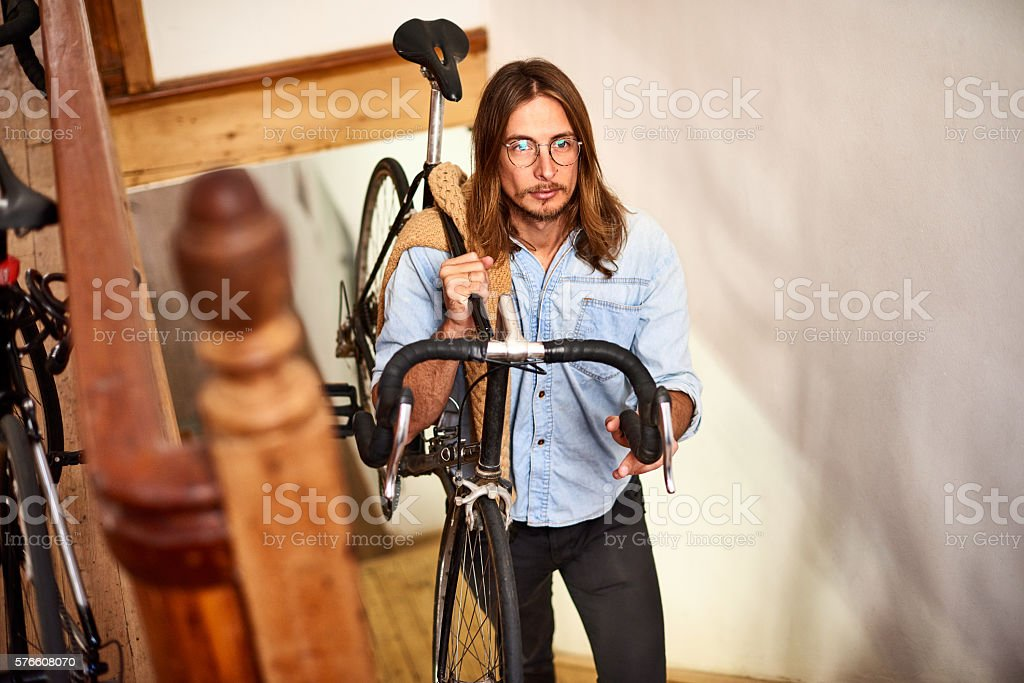 Getting to work the old fashioned way stock photo