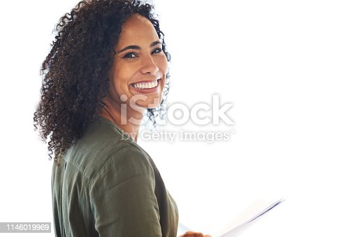 Studio shot of an attractive young businesswoman posing against a white background