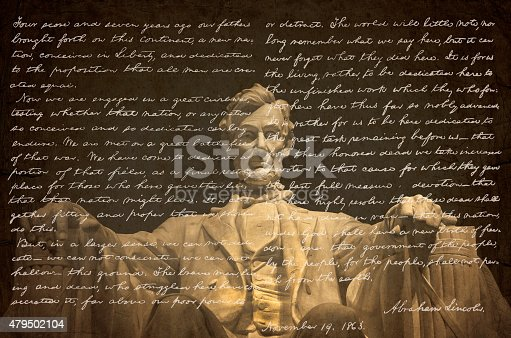 The Gettysburg Address in Abraham Lincoln's own handwriting overlayed on the statue of Abraham Lincoln inside the Lincoln Memorial in Washington DC.