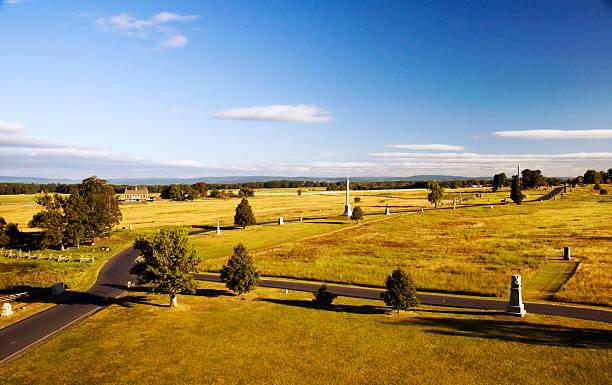 Gettysburg Battlefield from Top of Pennsylvania Monument stock photo