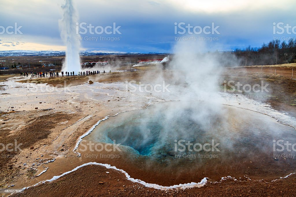 Geyser Iceland stock photo