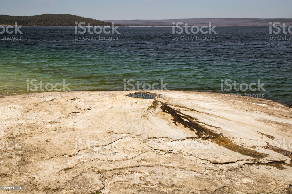 Geyser in Yellowstone lake,Yellowstone national park,WY,USA stock photo