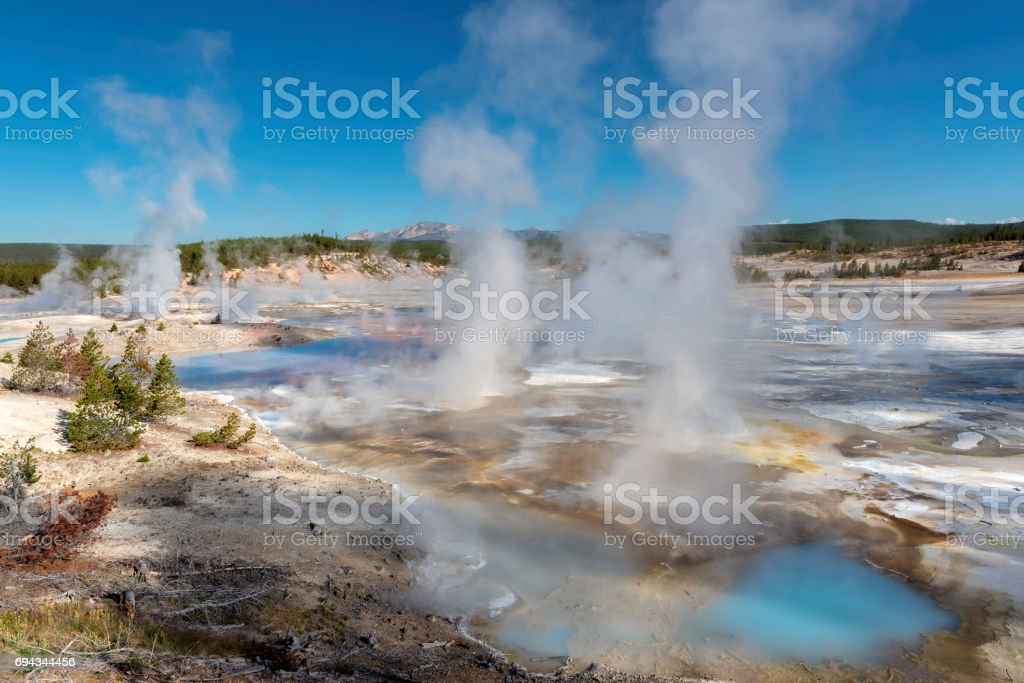 Geyser valley in Yellowstone National Park, Wyoming. stock photo