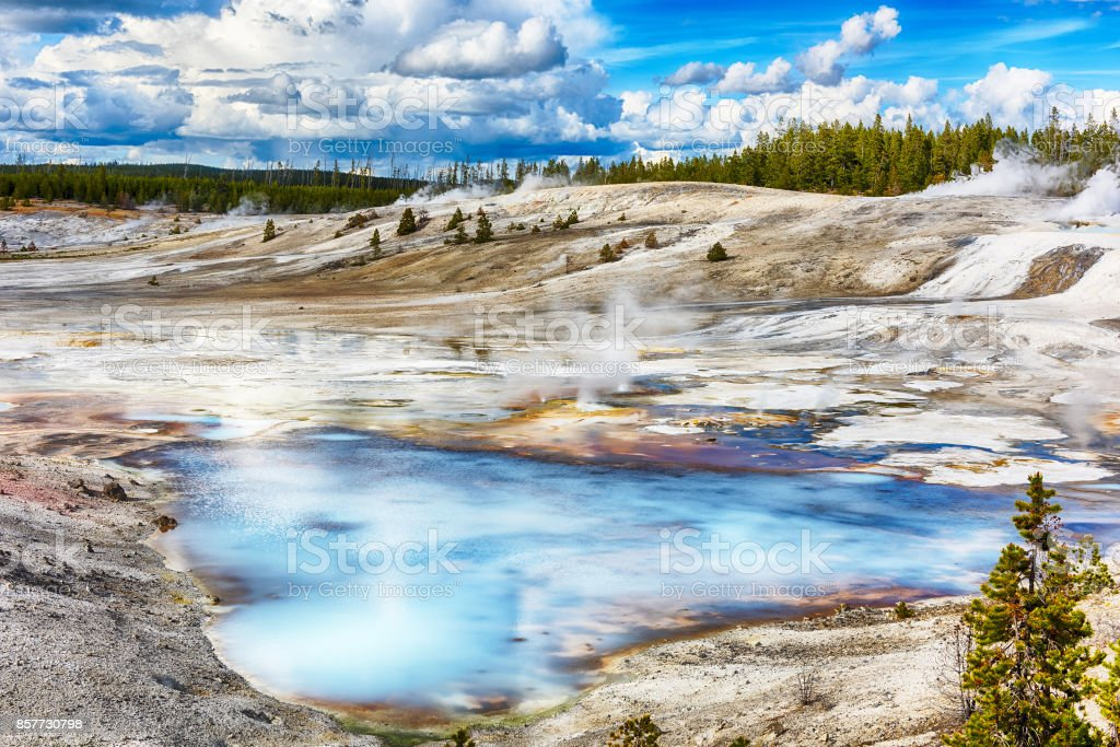 Geysers at Norris Basin stock photo