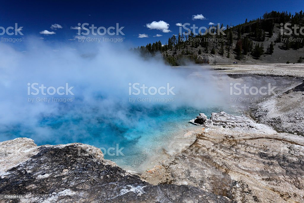 Geysers at yellowstone national park USA circa May 2010 stock photo