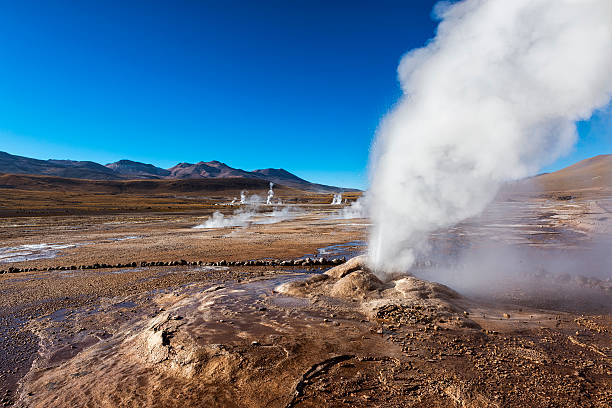 Geysers del Tatio in the Atacama Desert stock photo