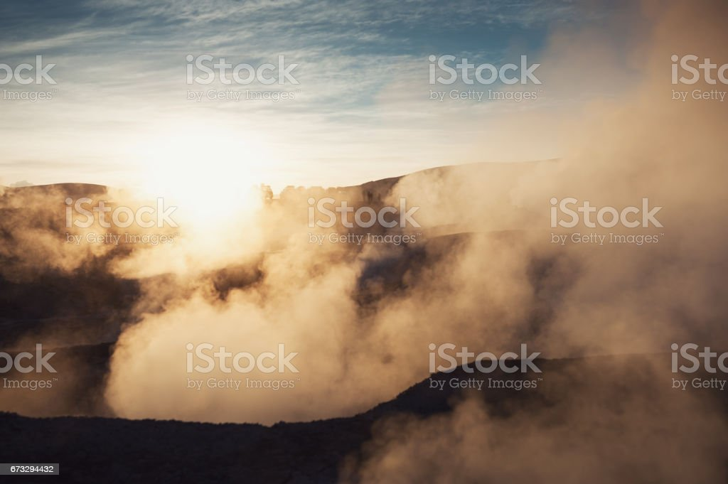 Geysers Sol de Manana on Altiplano, Bolivia royalty-free stock photo