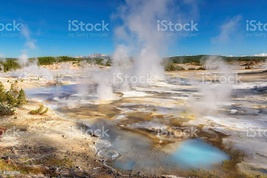 Geysers Valley in Yellowstone National Park, WY stock photo