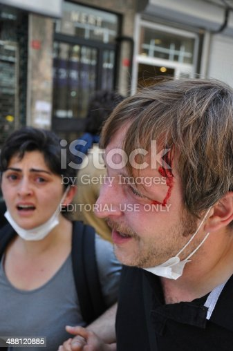 Istanbul, Turkey - June 01, 2013: Young man injured by tear gas capsule the national forces fired during the Gezi Park Protests, Cihangir, Istanbul