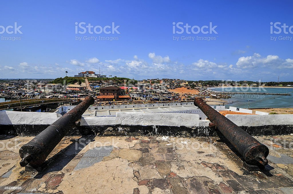 Ghana: Cannons of Elmina Castle World Heritage Site stock photo