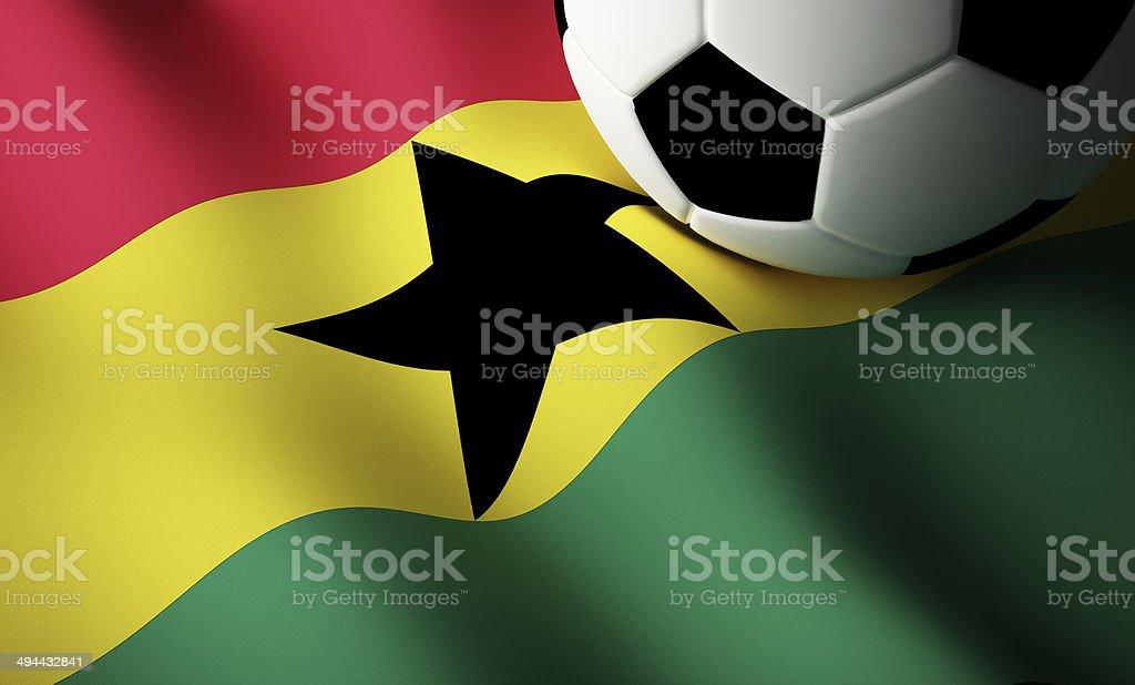 Ghana flag, football stock photo