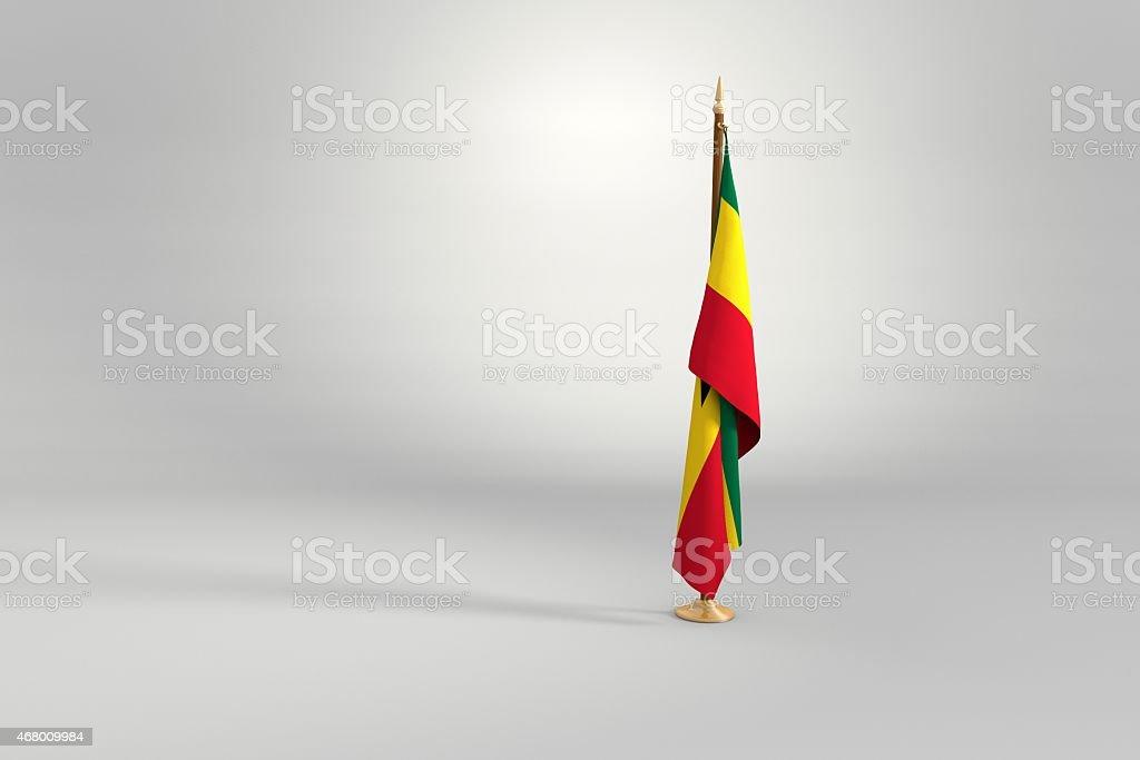 Ghana flag on mast 3d illustration stock photo