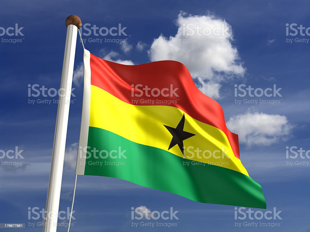 Ghana flag (with clipping path) stock photo