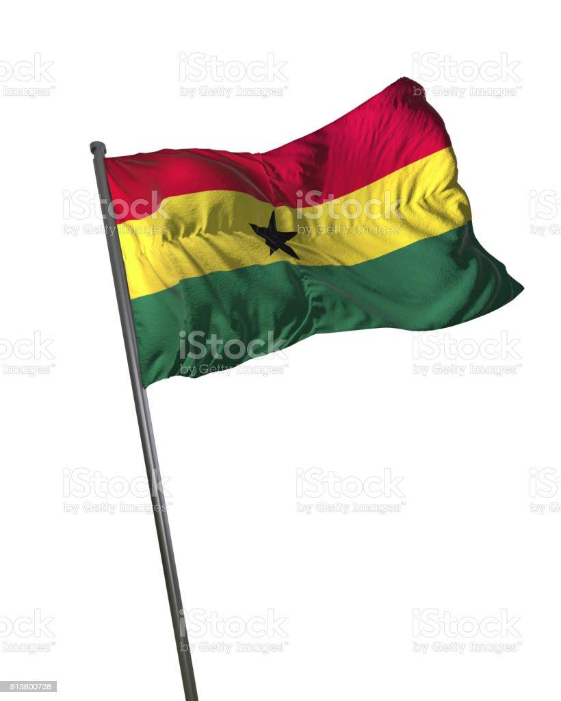 Ghana Flag Waving Isolated on White Background Portrait stock photo