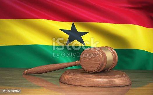 3d Render Judge Gavel and Ghana flag on background (Close-up)