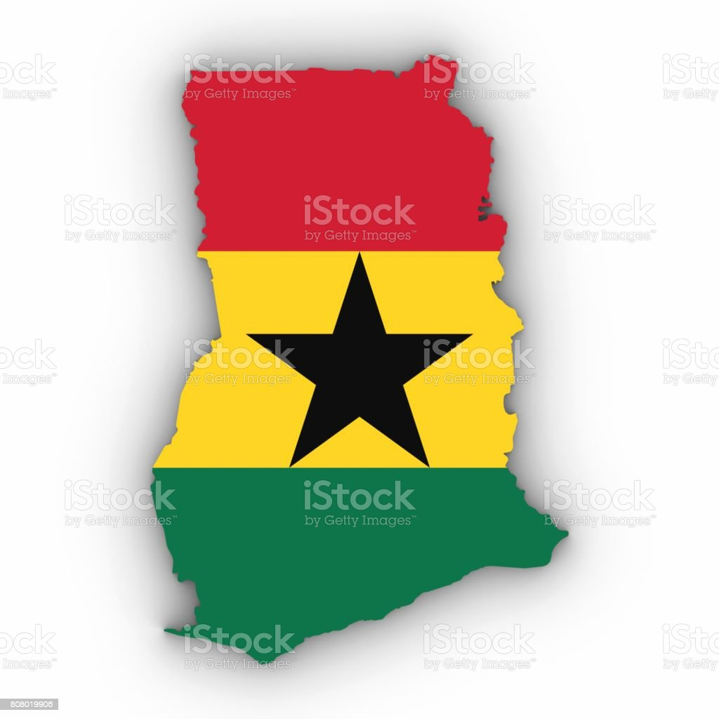 Ghana Map Outline with Ghanaian Flag on White with Shadows 3D Illustration stock photo