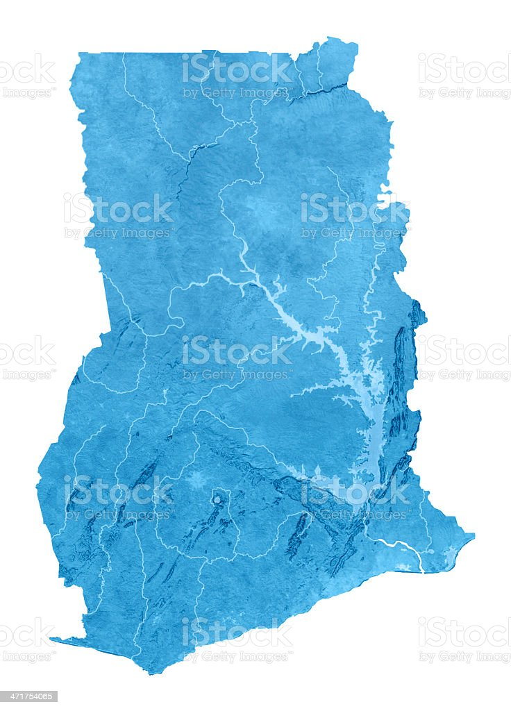 Ghana Topographic Map Isolated stock photo