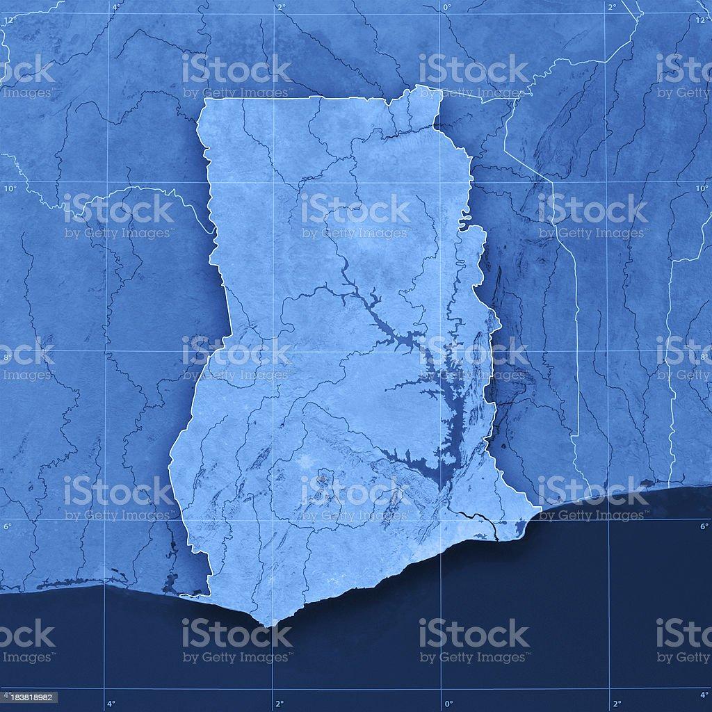 Ghana Topographic Map stock photo