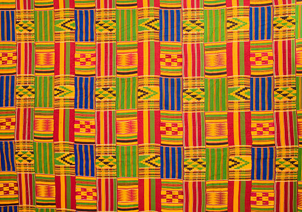 ghana: traditional kente cloth (large panel) - kente cloth stock photos and pictures