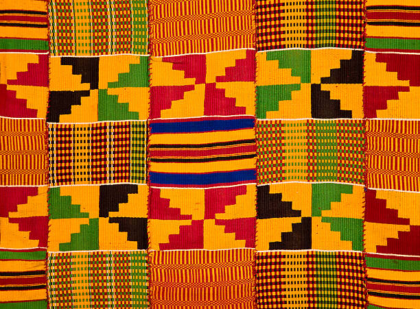 ghana: traditional kente cloth (border detail) - kente cloth stock photos and pictures