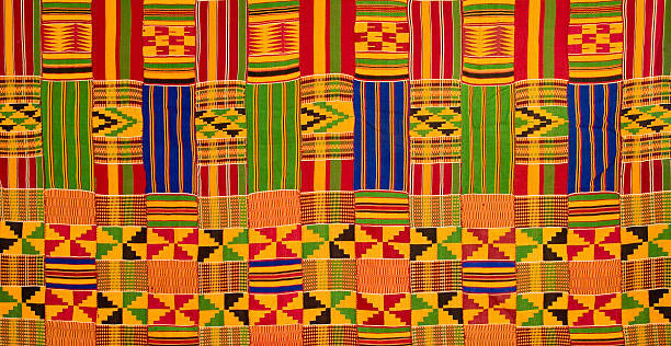 ghana: traditional kente cloth (detail of large-panel border) - kente cloth stock photos and pictures