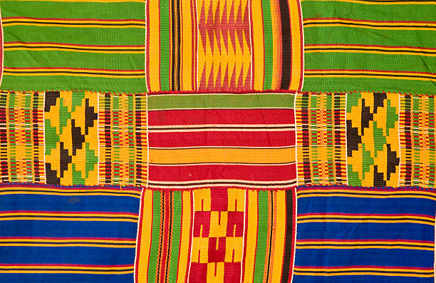 ghana: traditional kente cloth (detail) - kente cloth stock photos and pictures