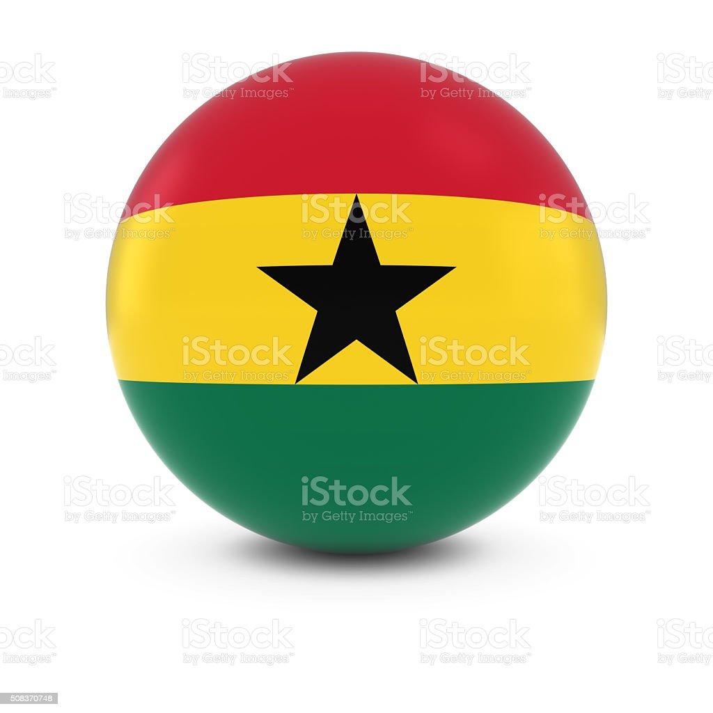 Ghanaian Flag Ball - Flag of Ghana on Isolated Sphere stock photo