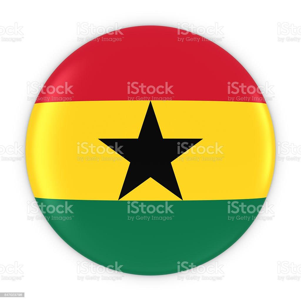 Ghanaian Flag Button - Flag of Ghana Badge 3D Illustration stock photo