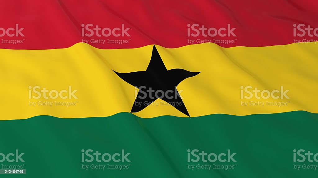 Ghanaian Flag HD Background - Flag of Ghana 3D Illustration stock photo