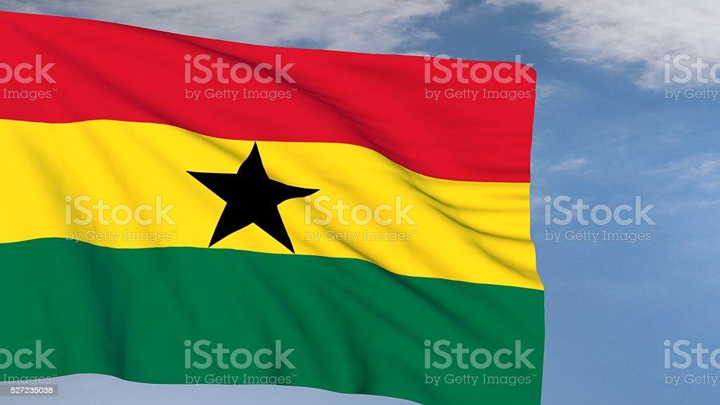 Ghanaian Flag waving on wind stock photo