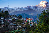 Ghandruk village and annapurna mountain in the evening