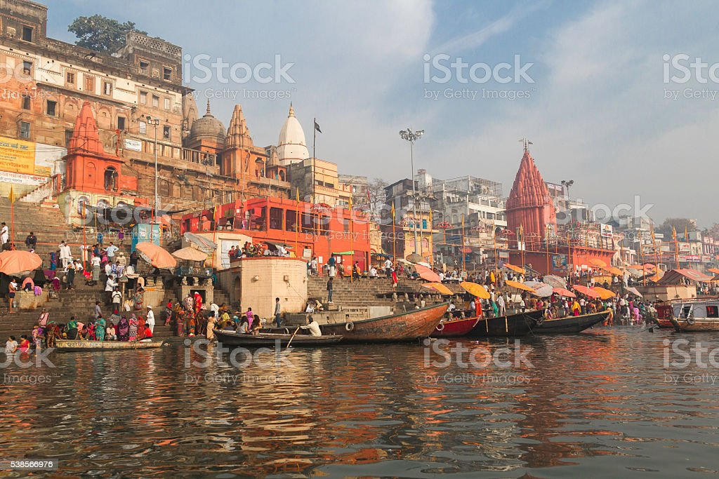 Ghat of River Ganges, Varanasi-India stock photo